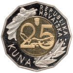 25 kuna – 25th Anniversary of the Introduction of the Kuna as the Monetary Unit of the Republic of Croatia, 30 May 1994 – 30 May 2019
